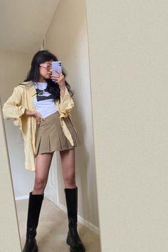#preppyskirt #meminebrand #ootd #summeroutfit #schoolskirt #tennisskirt Preppy Skirt, Long Boots, Leather Skirt, Summer Outfits, Punk, Shirt Dress, Instagram Posts, Fitness, Skirts