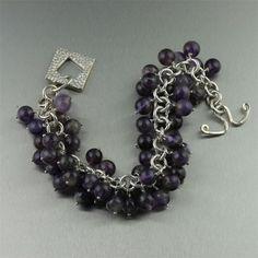 Amethyst Sterling Silver Chain Maille Bracelet