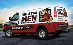 The best vehicle wraps use simple, easy-to-read graphics, as this wrap for Trusted Men Home Services: Masonry Division shows. - NJ Advertising Agency, NJ Ad Agency, NJ Web Design, NJ Logo Design, Website Design New Jersey, NJ Graphic Designer, New Jersey Logo Design, Graphic Design NJ | Graphic D-Signs, Inc. #homeservices #truckwraps #advertising #design #graphicdesign #vehiclewraps