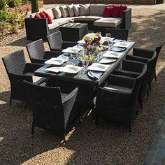 Maze Rattan Outdoor Garden Furniture Baby LA 8 Seat 2m x 1m Rectangular Table Rattan Dining Set
