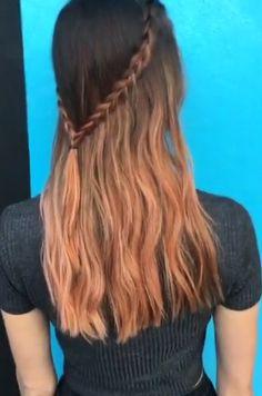 Peach dip-dye and braid