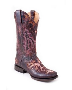 Stetson Boots Women's Distressed Python With Underlay Vamp Cowgirl Boot  http://www.countryoutfitter.com/products/37107-womens-distressed-python-with-underlay-vamp-boot