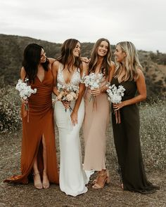 // Lovely Bride Pro Tip: Were all about mixing it up! Keep your unique bridesmaid looks cohesive by creating a color palette for your babes. You can never go wrong with rust blush and olive. Click the link in our bio to see more from our Lo Wedding Bells, Boho Wedding, Dream Wedding, Wedding Ideas, Wedding Ceremony, Trendy Wedding, Mermaid Wedding, Backless Wedding, Wedding Pictures