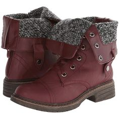 Wanted Crowley Women's Boots, Burgundy (€30) ❤ liked on Polyvore featuring shoes, boots, burgundy, mid-calf boots, military lace up boots, fold-over combat boots, mid calf combat boots and fold over boots