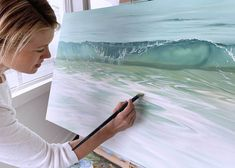 Painting Water and Waves - Surface Tension: New Collection Release – Julie Kluh Art Ocean Art, Ocean Waves, Types Of Waves, Surface Tension, Drawing Exercises, Moving Water, Making Waves, Landscape Paintings, Wave Paintings