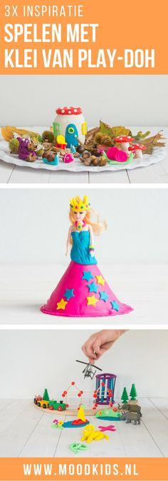 Drie leuke ideeën voor kinderen om te spelen met klei. Maak een herfsttafel, een prinsessenjurk voor pop of barbie. Bouwen en zelf dieren maken van klei. Knutselen met klei.