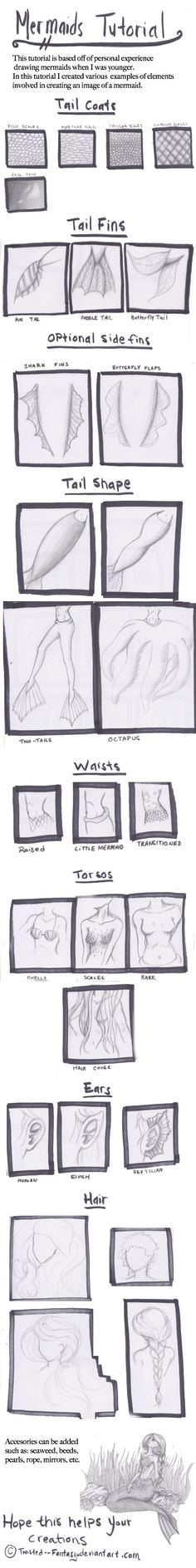anime drawing tutorial Art Ed Central loves this Mermaid Tutorial by Twisted--Fantasy on deviantART - Drawing Techniques, Drawing Tips, Drawing Reference, Drawing Ideas, Design Reference, Drawing Sketches, Mermaid Drawings, Mermaid Art, Tattoo Mermaid