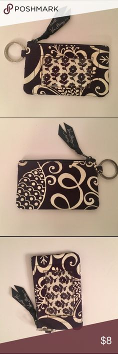 Vera Bradley ID case/key chain Vera Bradley zip ID case in Navy Blue floral print. Perfect for keys, drivers license and credit cards, etc. Never used but no tags. Vera Bradley Accessories Key & Card Holders