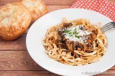 {Recipe} Celeriac Noodles with Mushroom Ragu for - The Joyful Foodie Ragu Recipe, Ground Sausage, Celeriac, Spiralizer Recipes, Sunday Suppers, Zucchini Noodles, Spaghetti, Stuffed Mushrooms, Vegetarian