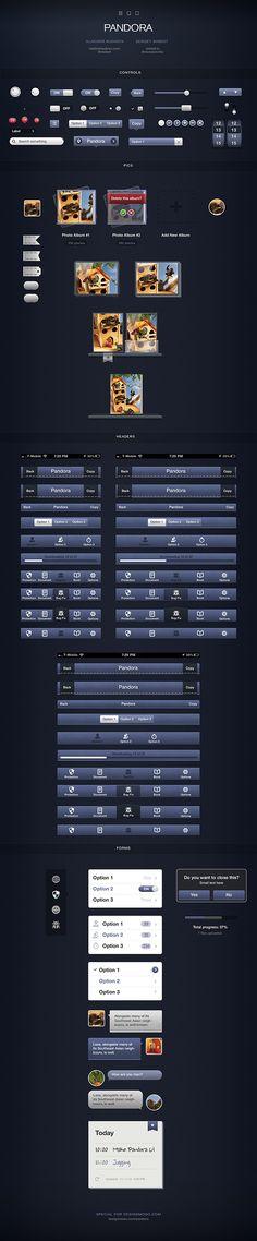 Pandora UI for iOS - User Interface Pack - DesignModo