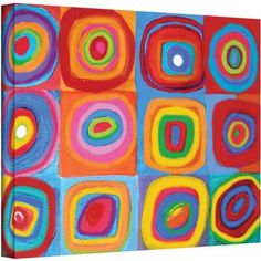 ArtWall Susi Franco Interpretation of Farbstudie Quadrate by Wassily Kandinksy Gallery-wrapped Canvas, Size: 18 x 24, Red