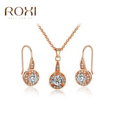 ROXI Trendy Fashion Rose Gold Women Jewelry Set Including 1 Chain Pendant Necklace & 1 Pair CZ Stone Hoop Earrings