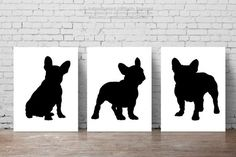 Black Frenchie Set of Abstract Animal Drawing, Watercolor Illustration, French Bulldog Poster, Dog Figurine Giclee Fine Art Print Watercolor Illustration, Watercolor Paintings, French Bulldog Drawing, Shelter Puppies, Black French Bulldogs, Abstract Animals, Animal Silhouette, French Bulldog Puppies, Animal Drawings