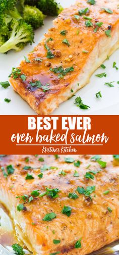 The best easy oven baked salmon recipe! The salmon is cooked in a honey garlic s… The best easy oven baked salmon recipe! The salmon is cooked in a honey garlic sauce that is so flavorful! This baked salmon is one of our favorite healthy dinner recipes! Seafood Recipes, Cooking Recipes, Healthy Recipes, Recipes Dinner, Paleo Fish Recipes, Dinner Menu, Dinner Ideas, Cake Recipes, Vegetarian Recipes