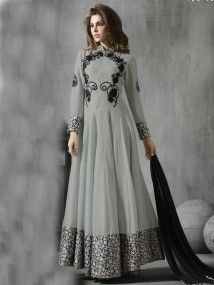 Grey Color Indian Designer Salwar Kameez Suit Designs for Eid