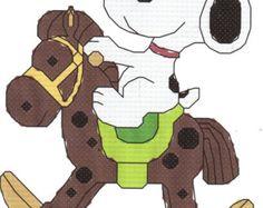 Baby Snoopy on Rocking Horse Cross Stitch Pattern