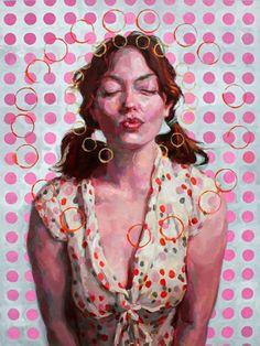 """The Pinkest Kiss Ever"" - Jennifer Balkan, oil on wood {contemporary figurative artist female head décolletage circles dots redhead woman face portrait cropped painting} jenniferbalkan.net"