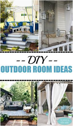DIY Outdoor Rooms on a Budget. Great ideas for creating an outdoor space without breaking the bank. - Home Decoration and Diy Outdoor Rooms, Outdoor Sofa, Outdoor Gardens, Outdoor Living, Outdoor Decor, Casa Patio, Diy Patio, Patio Ideas, Budget Patio