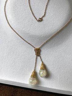 Horace Welch 14K Floating Opal  Lavalier Necklace