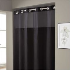 Hookless Shower Curtain Extra Long Black Curtains