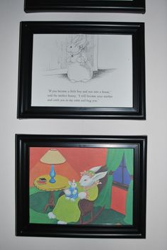 Adorable idea for a children's room: frame  a few pages of your favorite children's book.  Promote literacy and decorate your child's bedroom all at the same time!