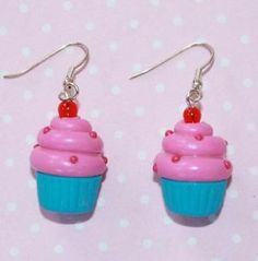 Cupcake Earrings http://stores.ebay.co.uk/Lavish-Accessories #Kitsch #Kawaii #Sweets #Cake #Cute #Lolita #Pastelgoth #Lavishaccessories