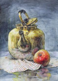 Still Life Drawing, Still Life Art, Watercolor Books, Object Drawing, Indian Art Paintings, Guache, Watercolour Tutorials, Art Sketchbook, Chinese Art