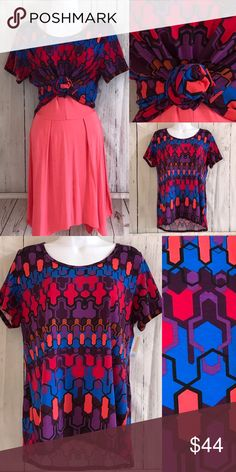 LuLaRoe Purple abstract Classic Tee Purple blue and salmon bold abstract tee. Be different. Stand out!! Size XL. But if you're creative and smaller you can tie it and use it. Don't be afraid. Dress sold separately or can be bundled. LuLaRoe Tops Tees - Short Sleeve