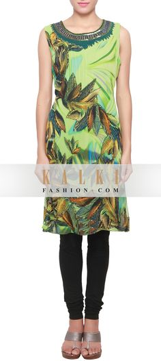 Buy Online from the link below. We ship worldwide (Free Shipping over US$100) http://www.kalkifashion.com/green-multi-color-kurti-featuring-in-digital-print-only-on-kalki.html