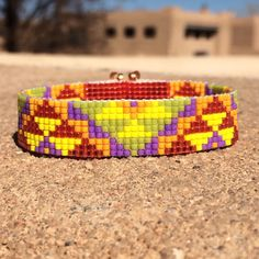 Bright and Sunny Aztec Bead Loom Bracelet Bohemian Boho Artisanal Jewelry Indian Western Bead Orange Pink Purple  Santa Fe by PuebloAndCo on Etsy https://www.etsy.com/listing/225212473/bright-and-sunny-aztec-bead-loom