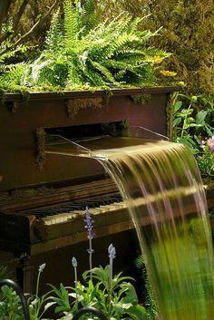 Piano waterfall fountain