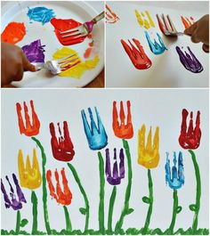 Making tulips with a fork. Amazing fun idea for at home or at school.