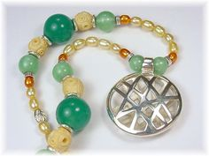 Oriental Garden - Sterling Silver, Art Glass, Vintage Ivory Necklace with Sterling Pendant OOAK Jewelry