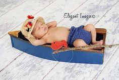 Baby Boy Fishing Hat & Diaper cover Newborn Photo by LandyKnits, $45.00