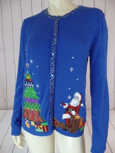 DESIGNERS ORIGINALS Ugly Christmas Sweater PM Royal Blue Cotton Fine Thin Knit Button Front Cardigan Sequins Applique Santa Tree FESTIVE!