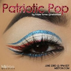 Patriotic red white and blue eye makeup. Make up art. Beautiful forth of July eyes.