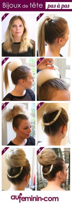 Pour une tête en fête, une coiffure originale avec un beau headband bijoux.
