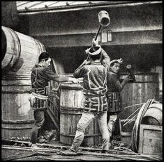 Coopers pounding woven bamboo strapping onto giant barrels, ca. 1898 by T.Enami