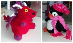 """I added """"More crocheted amigurumi - dragon and penguin"""" to an #inlinkz linkup!http://bamcrafts.com/2015/01/07/more-crocheted-amigurumi-presents-for-kids-the-dragon-and-the-penguin/"""