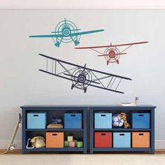 Children Boys Bedroom Decor Gift 3 Biplanes 3 Colors Vinyl Wall Decal Airplane Wall Sticker Navy blueDark redTeals -- Check out the image by visiting the link.