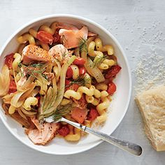Cavatappi with Salmon and Wilted Fennel | CookingLight.com #myplate #protein #veggies