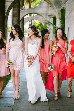 Colorful coral mismatched bridesemaid dresses