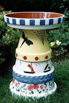 clay pot birdbath & many more I want to make one for this spring!!! I need a bird bath for the front yard :)