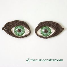 Crochet Eyes PATTERN applique / motif for by TheCurioCraftsRoom
