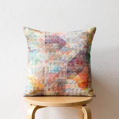 Geometric Print Cushion: 'Aida' design colourful by PixelAndThread
