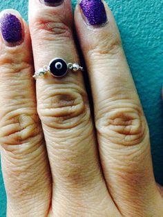 Sapphire blue evil eye midi/knuckle ring on Etsy, $25.00
