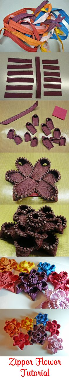 No-Sew Zipper Flower Tutorial from CardsByStephanie.com