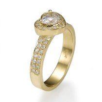 Holyland-1.6 CT HEART CUT REAL DIAMOND PROMISE RING 14K YG GOLD