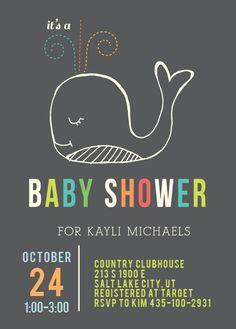 Whale Shower Baby Shower Invitation