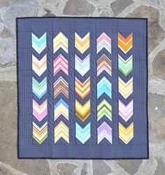 Vintage Chevrons baby quilt:  playing with stripes at Thought and Found